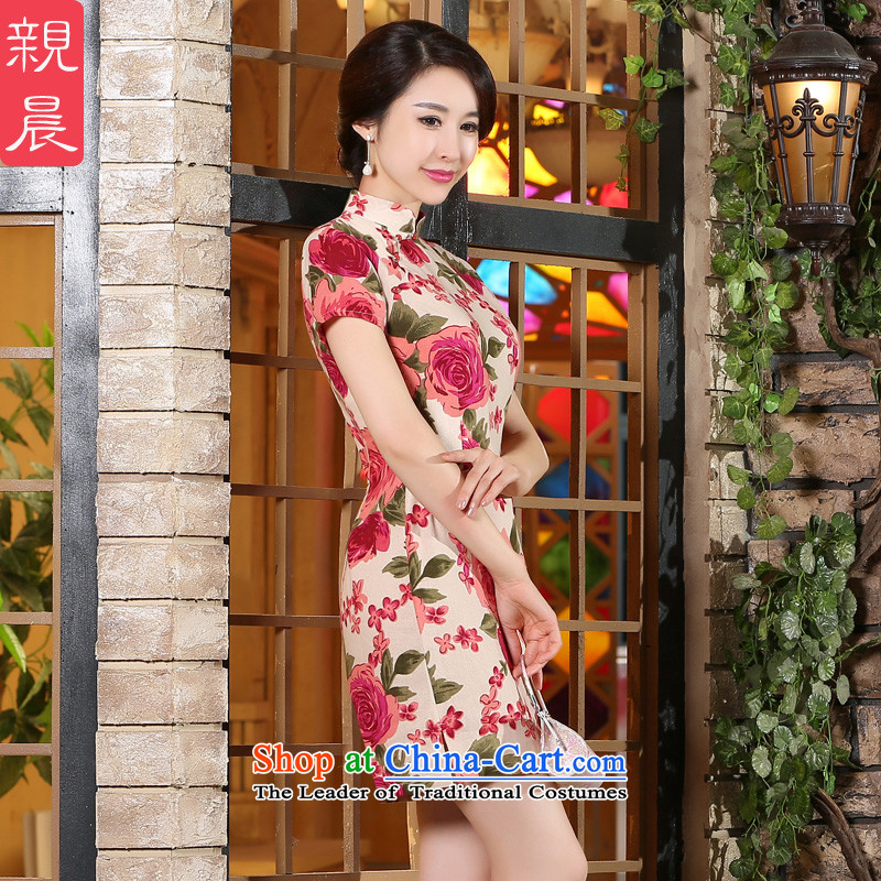 The pro-am new cheongsam dress 2015 summer day-to-day, Stylish retro short of improved cotton linen cheongsam dress short,?2XL