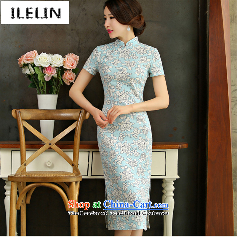 Mr Ronald, Retro improvements ILELIN2015 cotton linen national wind in Long of the forklift truck qipao Linen Dress qipao arts of the Republic of Korea Air-dress if blue?S