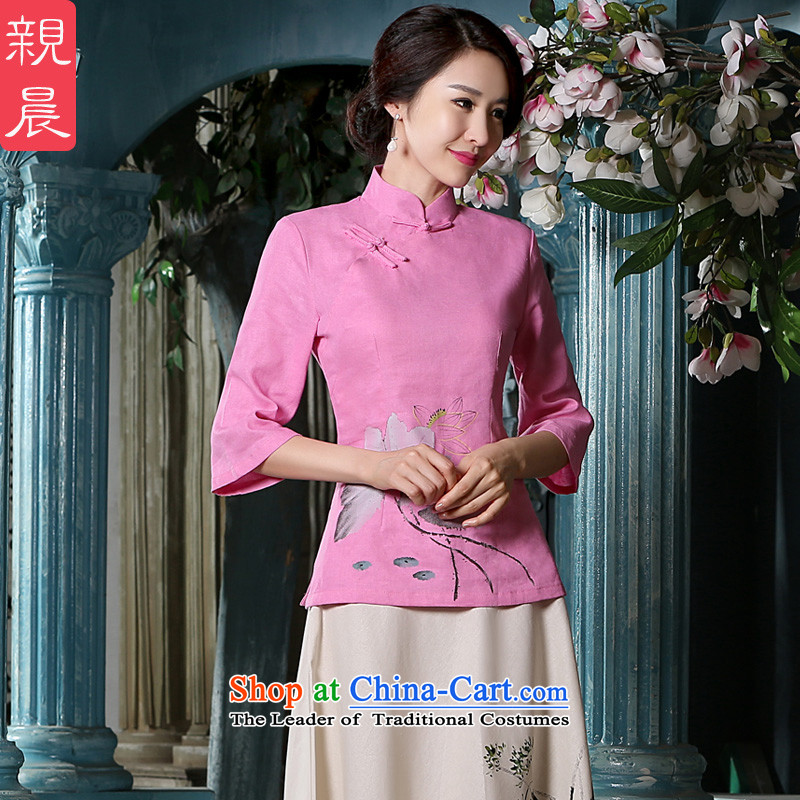 The pro-am new cotton linen clothes 2015 autumn and winter cheongsam with Tang Dynasty Chinese improved stylish everyday Dress Shirt +P0011 skirt S