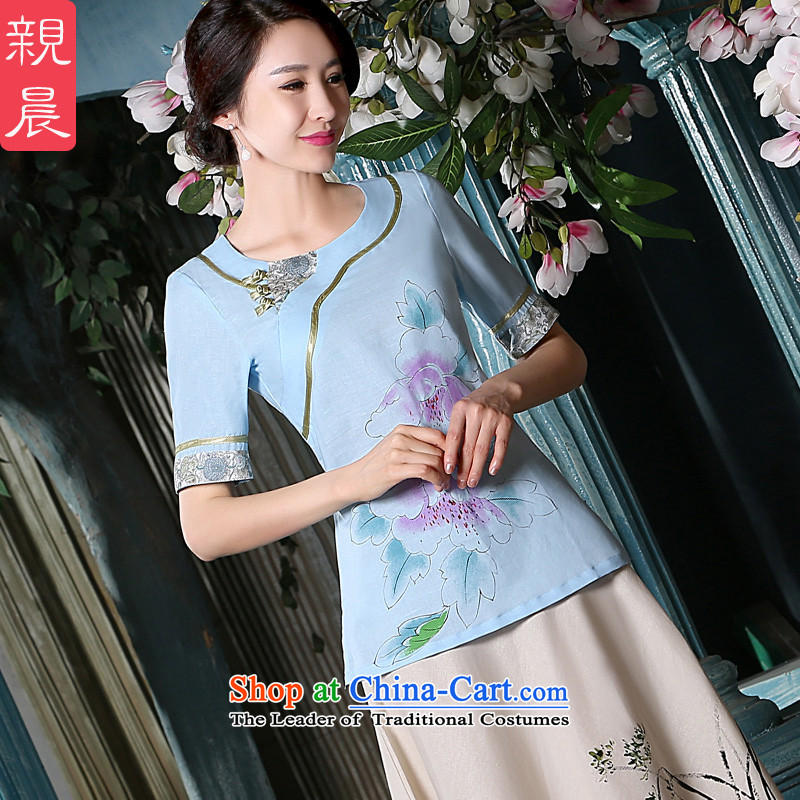 The pro-am qipao new 2015 Fall_Winter Collections of nostalgia for the improvement of the day-to-day cotton linen flax in ethnic long shirts shirt +P0011 skirts聽M