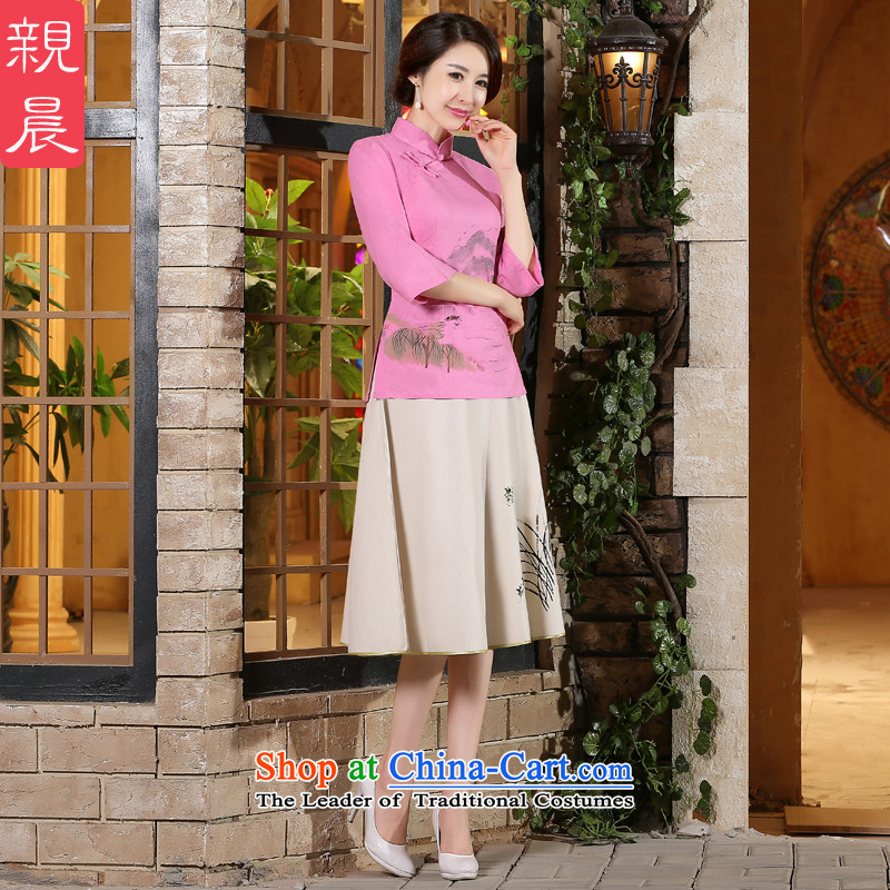 The pro-am new cotton linen clothes 2015 autumn and winter cheongsam with improved stylish Chinese Tang dynasty everyday Dress Shirt +P0011 skirt聽L