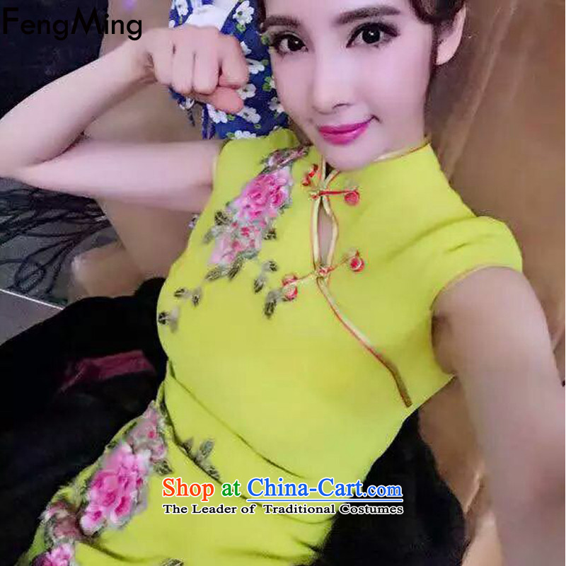 Hsbc Holdings Plc 2015 Summer Ming heavy industry tray clip name Yuan China wind flower embroidery stereo Sau San cheongsam dress yellow S
