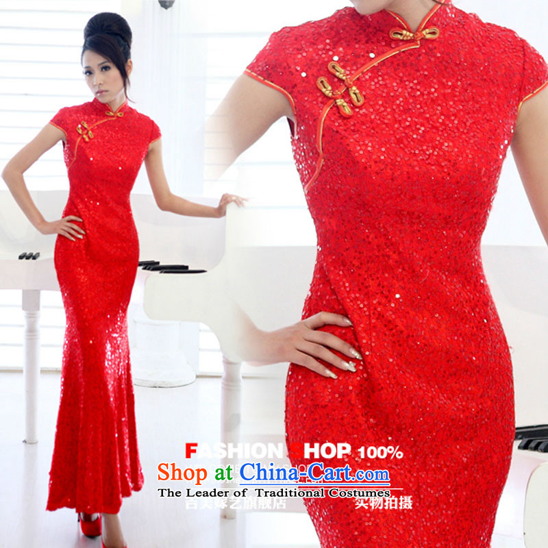 The hot sales of new elections as soon as possible, US-married arts improved on-chip ultra-compact flash red long colorful graphics thin cheongsam QP108 RED燲L