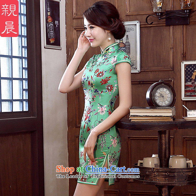 The pro-am 2015 daily new spring and summer stylish silk retro short, upscale beauty improved Silk Cheongsam short of Foday Sankoh�L