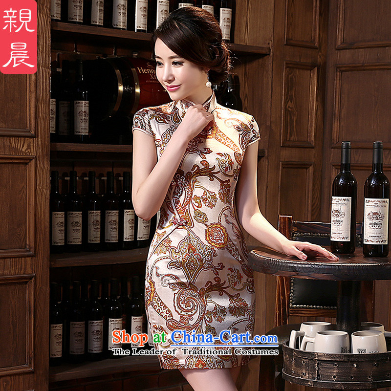 The pro-am daily new 2015 retro improvement and the relatively short time of herbs extract silk cheongsam dress up the skirt of female short聽2XL