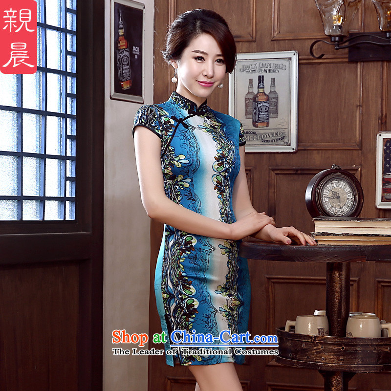 At 2015 new parent cheongsam dress spring and summer load routine retro sauna silk cheongsam dress silk improved stylish short燤