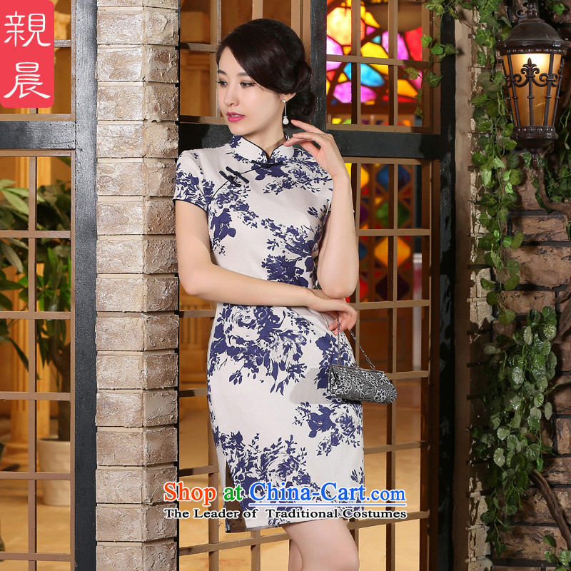 The pro-am new cotton linen cheongsam dress short summer 2015) Ms. Stylish retro daily improved cheongsam dress short) S