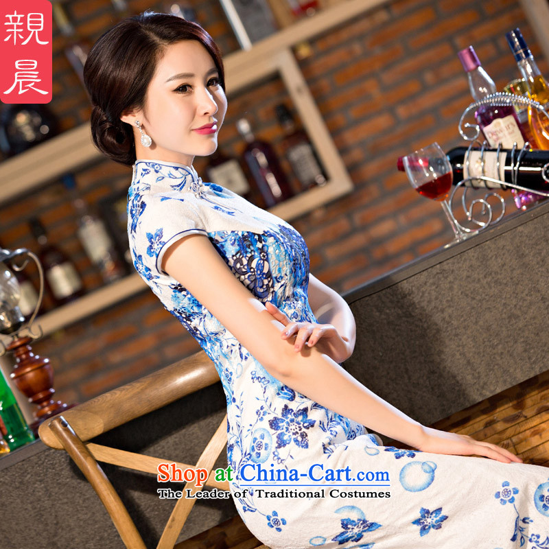 The new 2015 pro-morning improved stylish lace cheongsam dress daily Ms. summer long short-sleeved cheongsam dress long燤