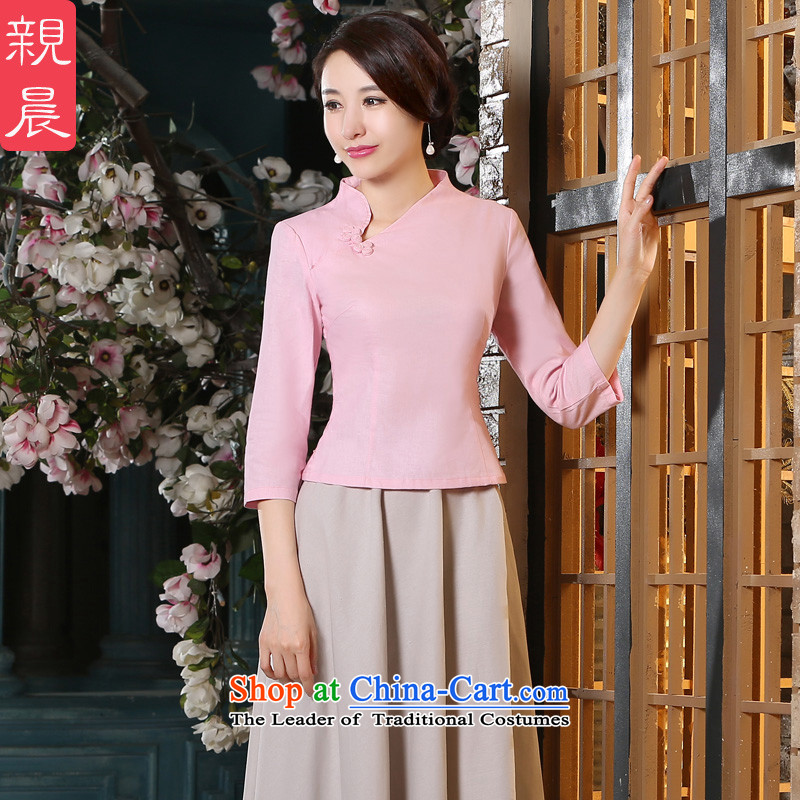 The pro-am new cotton linen dresses in long shirts skirt 2015 Fall_Winter Collections improved stylish daily cheongsam dress shirt + in beige skirt燬