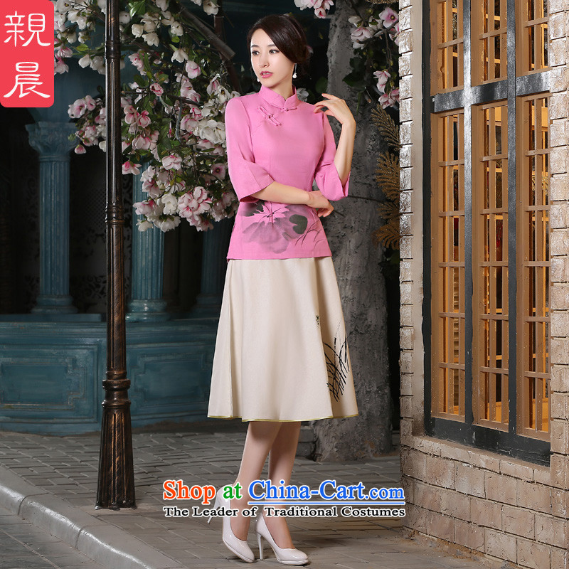 The pro-am new cotton linen clothes 2015 autumn and winter cheongsam with improved stylish everyday dress Tang Dynasty Chinese shirt聽2XL