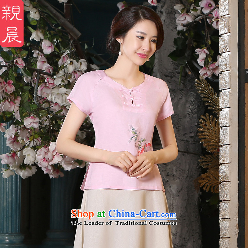 The pro-am New Clothes Summer qipao 2015 female improved stylish Chinese Tang dynasty daily cotton Linen Dress Shirt +P0011 skirt?L