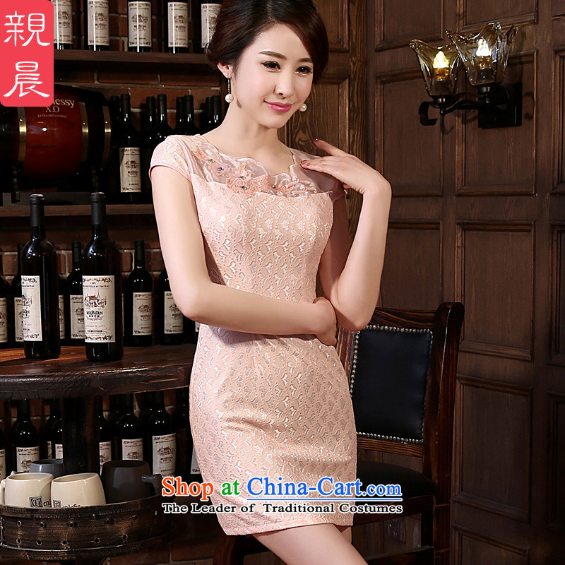At 2015 new parent cheongsam dress spring and summer load routine short, short-sleeved lace cheongsam dress and the relatively short time, improved�L