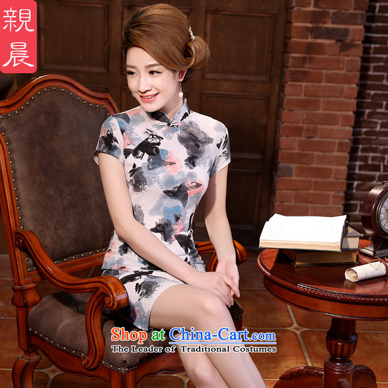 �� pro-am- 2015 new summer daily cotton linen retro Sau San improved temperament skirt short skirt ink QIPAO) Butterfly?2XL-46