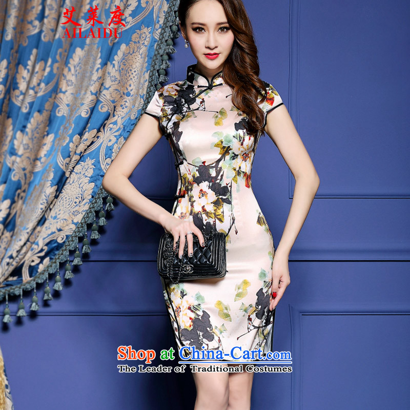 The Aileu degrees 2015 New Silk Cheongsam dress emulation ink stamp graphics package thin and dresses NA16-2_8042 SUIT燲S