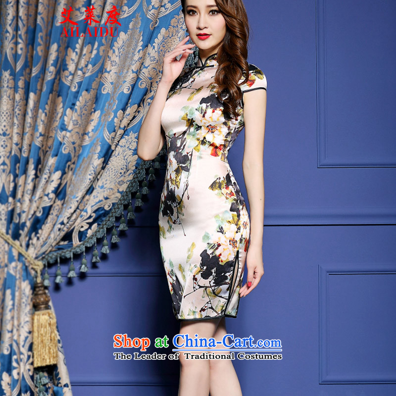 The Aileu degrees 2015 New Silk Cheongsam dress emulation ink stamp graphics package thin and dresses NA16-2_8042 SUIT聽XS, Aileu AILAIDU () , , , shopping on the Internet