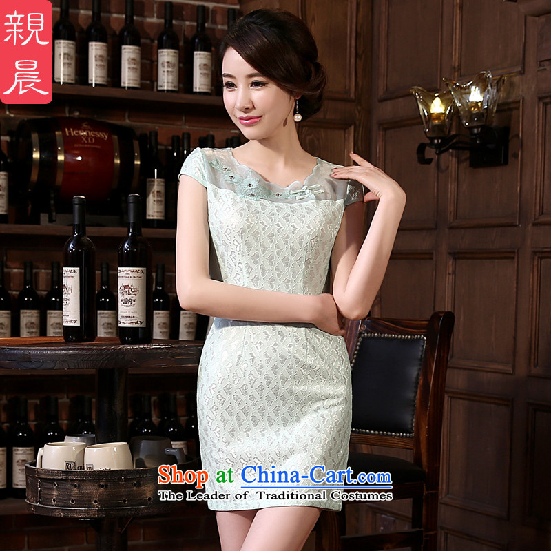 The pro-am new daily qipao 2015 skirt spring and summer load short, short-sleeved female lace cheongsam dress and the relatively short time, improved?S