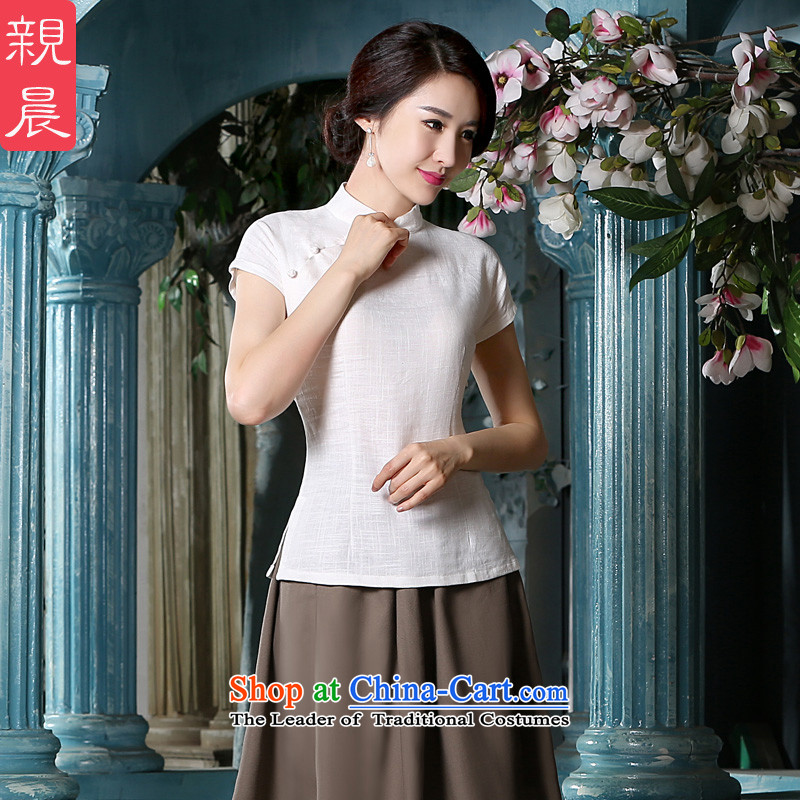 The pro-am a new summer, cotton linen daily improvement of ethnic Han-T 桖 linen short-sleeved T-shirt qipao traditional female shirt + khaki short skirts?M-seven days of