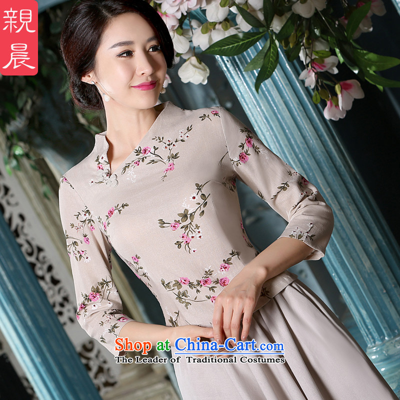 The pro-am qipao T-shirt with the summer and fall of 2015 cotton linen flax retro improved daily Tang Gown of ethnic Han-T-shirt + beige long skirt燲L