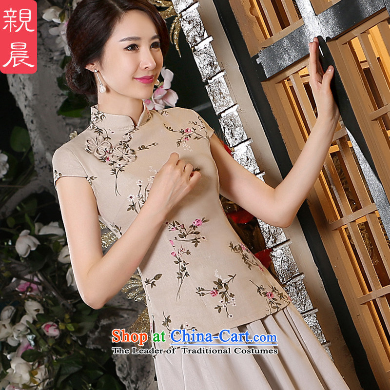 The pro-am cotton linen dresses shirt new 2015 summer short-sleeved daily improvement of traditional antique Tang dynasty China wind blouses�L