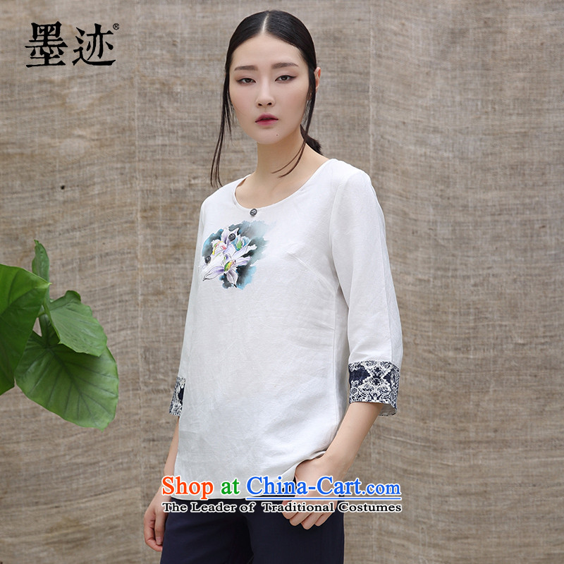 Summer 2015 new ink cotton linen cloth hand-painted orchid linen china wind female literary art fashion white L Fan