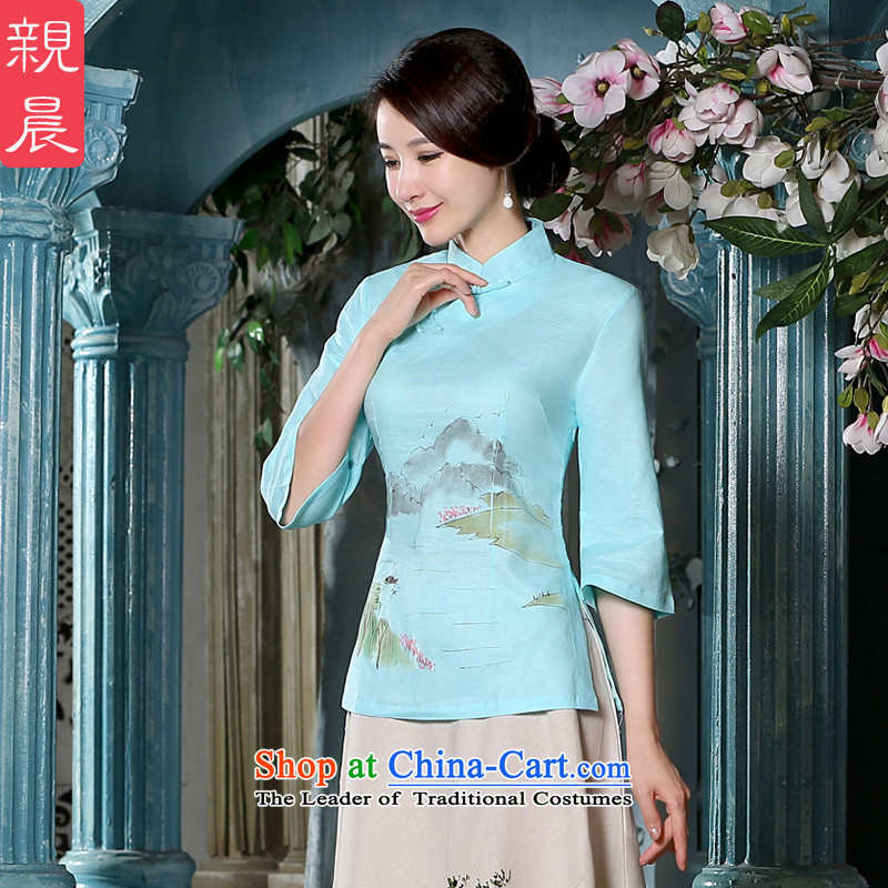 The pro-am Tang dynasty cheongsam dress Fall_Winter Collections of new products cotton linen flax daily improved Chinese Han-retro kit shirt female clothes +P0011 apron skirt燤