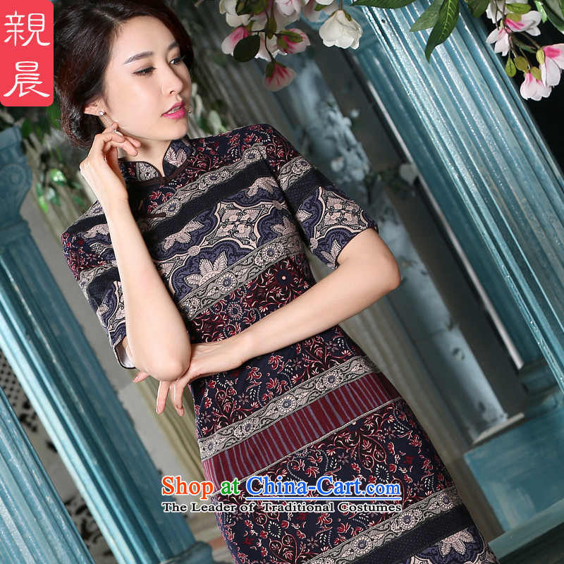 The pro-am cheongsam dress in summer and autumn of daily new improved cotton linen flax Stylish retro in Chinese long-sleeved_ picture color燣