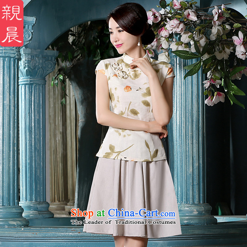 The pro-am summer new cotton linen dress retro improvements 2015 Daily Tang ethnic Han-short-sleeved T-shirt + T-shirt, beige qipao short skirt�L
