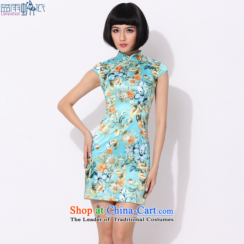?2015 new stylish qipao summer cotton cheongsam dress displayed Sau San dresses green?L