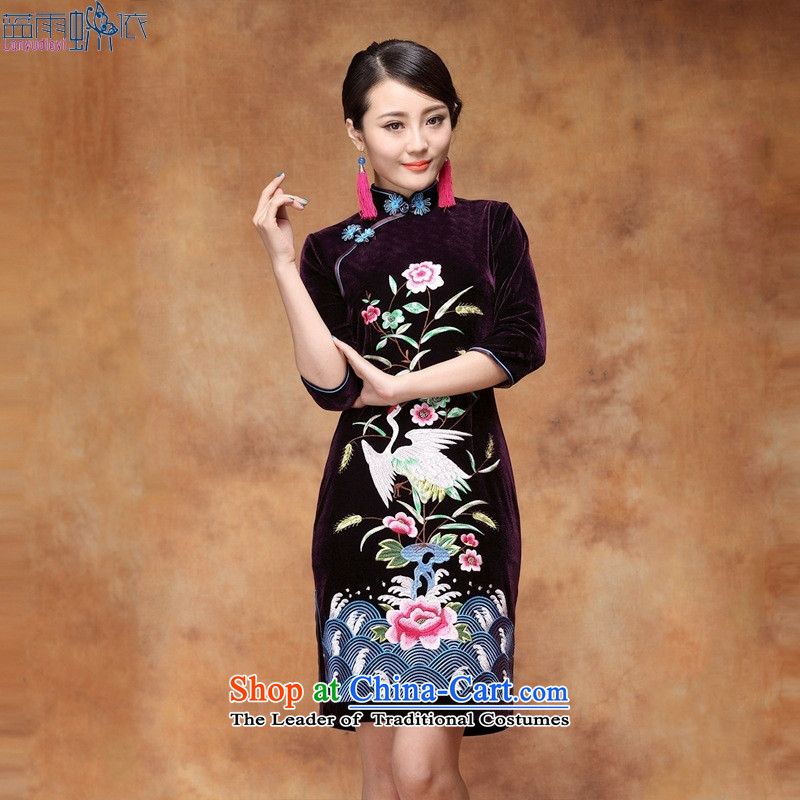 The fall of embroidery Kim qipao Stylish retro scouring pads female dresses evening dresses燲XXL blue