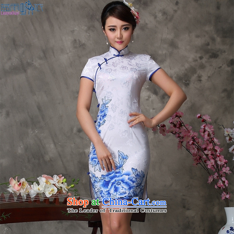 Qipao summer new Chinese qipao daily retro retro short stylish qipao White聽XXL