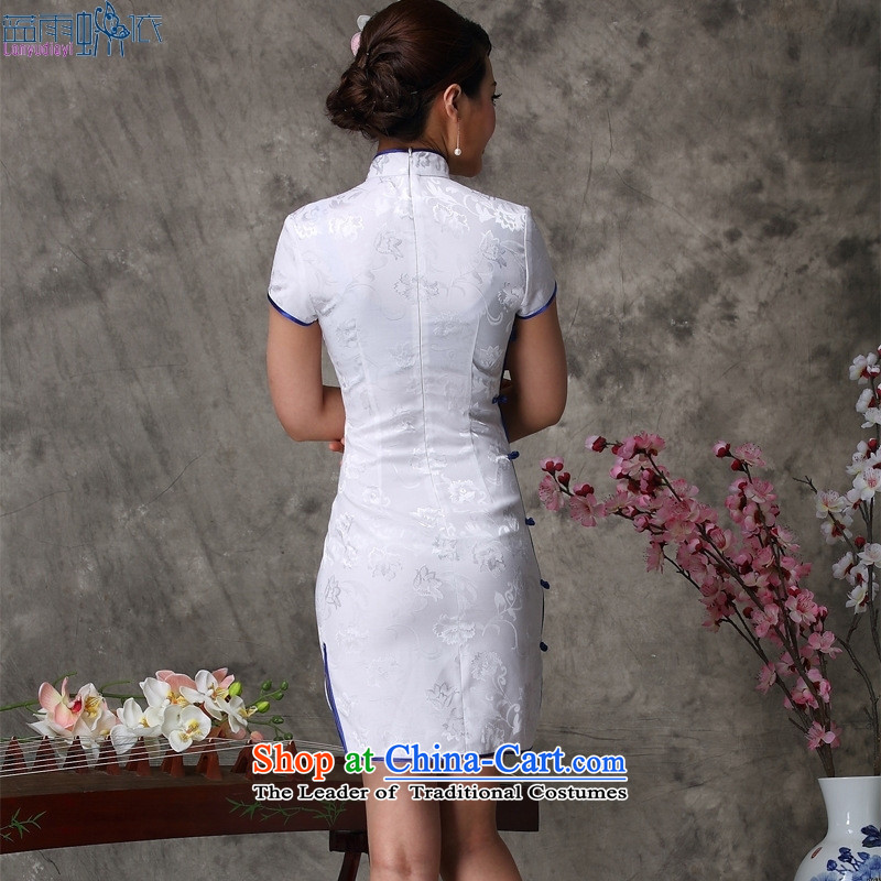Qipao summer new Chinese qipao daily retro retro short stylish white XXL, qipao blue rain butterfly according to , , , shopping on the Internet