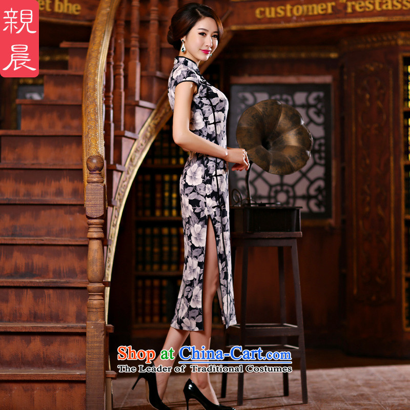 At 2015 new pro-summer daily retro style qipao length skirts improvement of Sau San, short-sleeved dresses?TZM-1002 black on white flower cheongsam?L