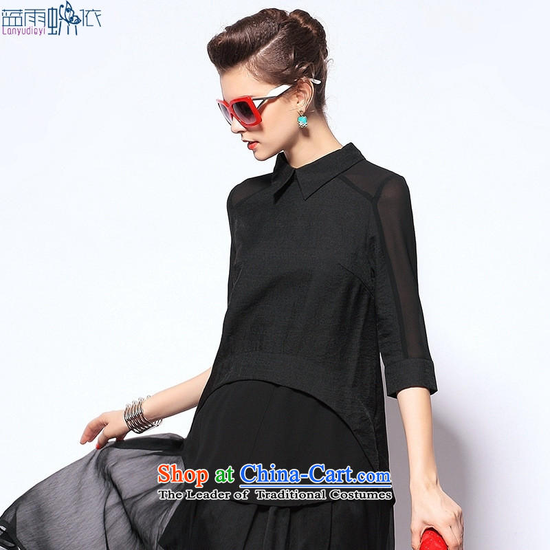 The European site Couture fashion in Europe and the new summer, Loose Cuff lapel female black T-shirt燤