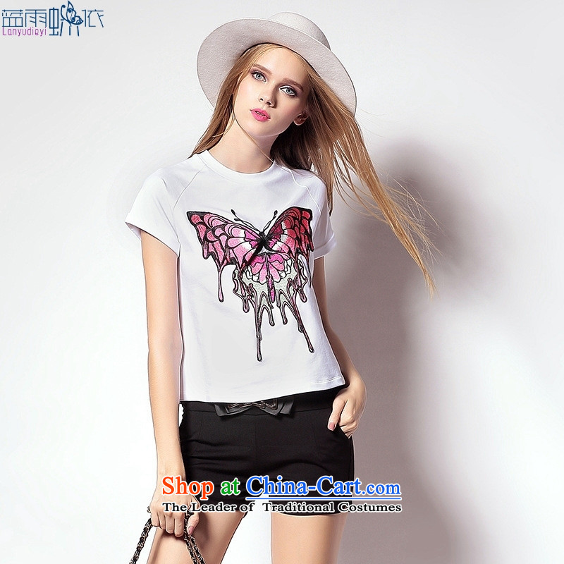 The European site goddess stylish new summer for women Western big butterfly female white?L T-Shirt