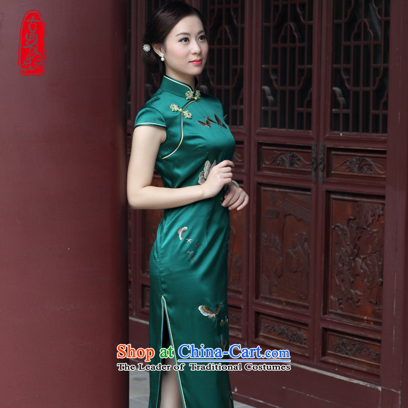 The Wu female red 2015 suzhou embroidery handicraft embroidery silk cheongsam dress up of daily-high-end Ms. Sau San banquet dinner dress Army Green M
