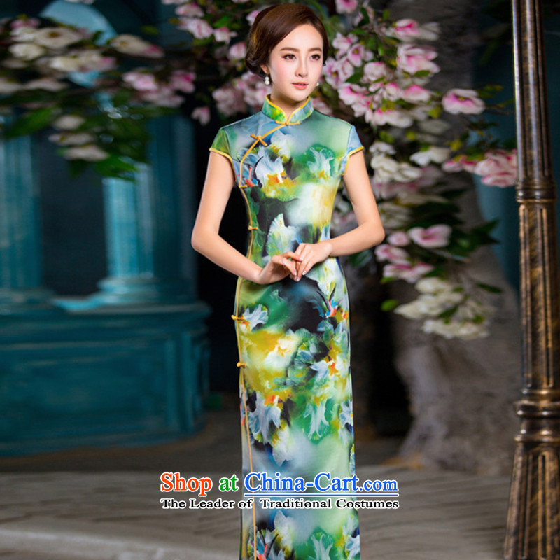 Dan smoke long retro elegant qipao thin graphics Chinese collar crescent improved long-sleeved cheongsam dress figure color?M