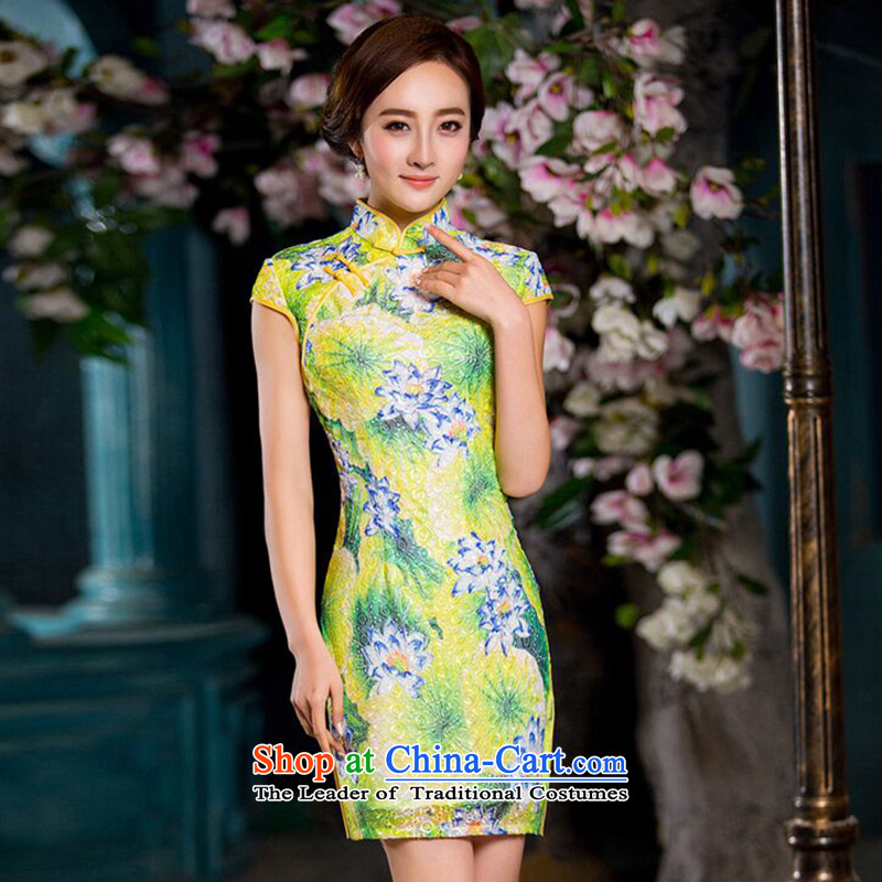 Dan breathing new for women composite lace improved qipao Stylish retro cheongsam dress short qipao gown Figure Color燲L