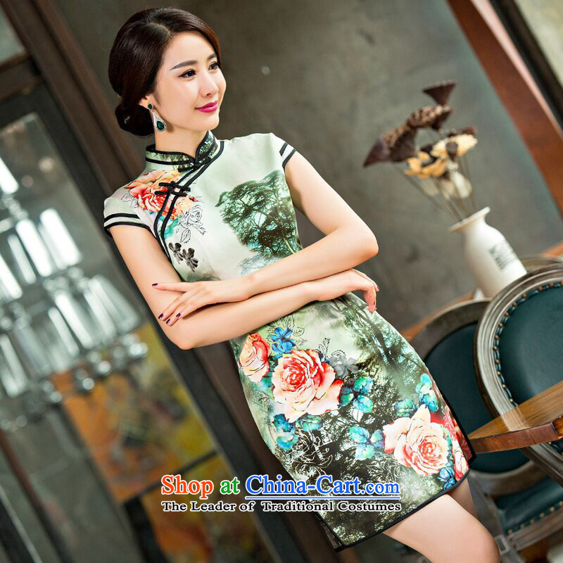 It New Silk Cheongsam improved version of stylish lady dresses Chinese Antique disc detained cheongsam dress short Figure Color?S