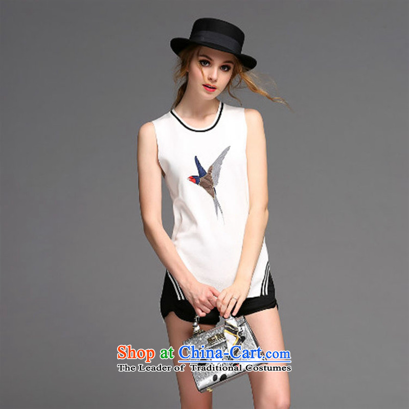 At the beginning of autumn Hami new women's T-shirt European site high-end female Sau San Circle Sleeveless Top Loin of embroidered Knitted Shirt black燬
