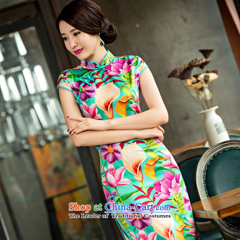 Find new women's soft Silk Cheongsam Chinese improved long collar temperament cheongsam dress qipao ladies Sau San Figure Color XL