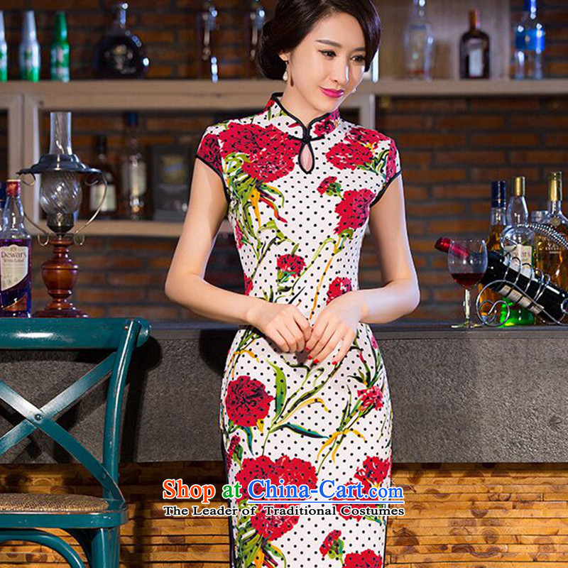 Dan breathing new long cheongsam dress water droplets Mock-neck Chinese improved China wind Sau San video thin cheongsam dress figure color聽L