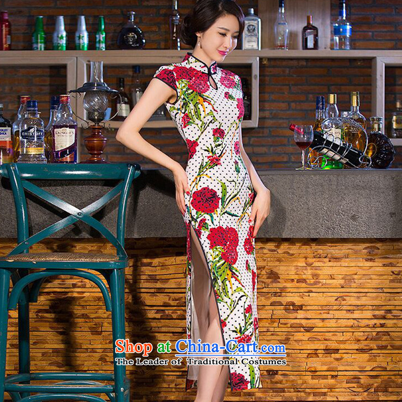 It New Long qipao women water droplets collar Chinese improved China wind Sau San video thin cheongsam dress Figure Color燬