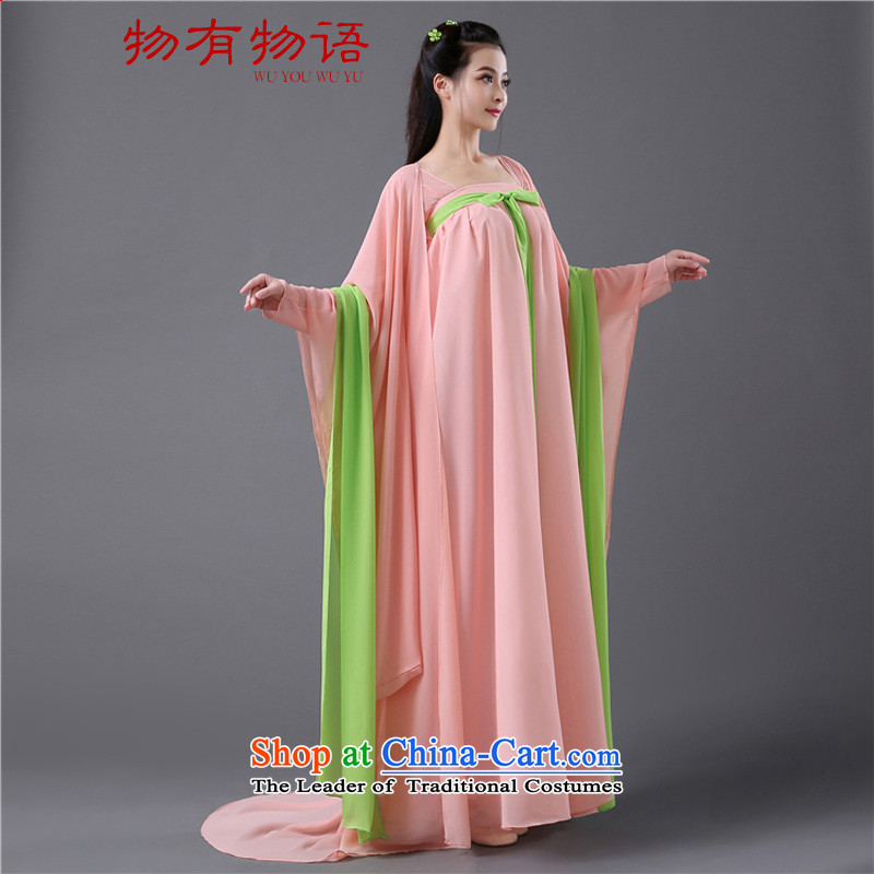 There is a Chinese classics property of the Tang dynasty, Han-dynasty drama groups show woman serving women's chest you can multi-select attributes by using the pink dress code 162cm-172cm are