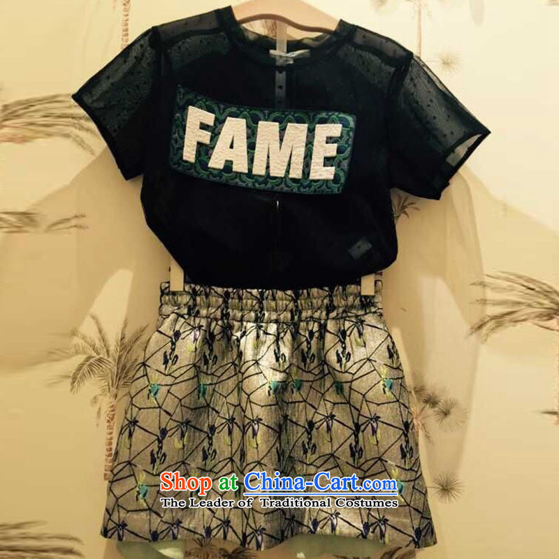 The European station 2015 Autumn Hami load new round-neck collar short-sleeved T-shirt small letters stamp shirt pre-sale picture color?S
