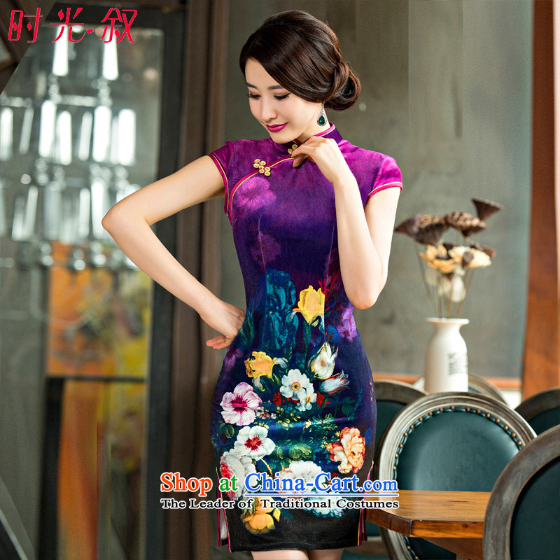 The Syrian name2-hour velvet cheongsam dress�15 new daily retro summer Sau San qipao short stylish improved women's dresses燣
