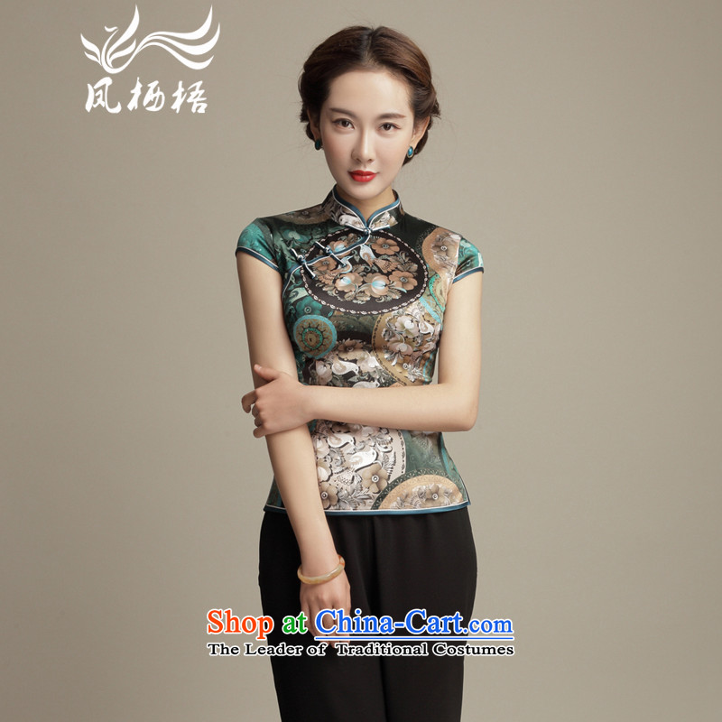 Bong-migratory 7475 Silk Cheongsam shirt�2015 New Sau San Tong Herbs extract retro blouses DQ15170 Suit�M