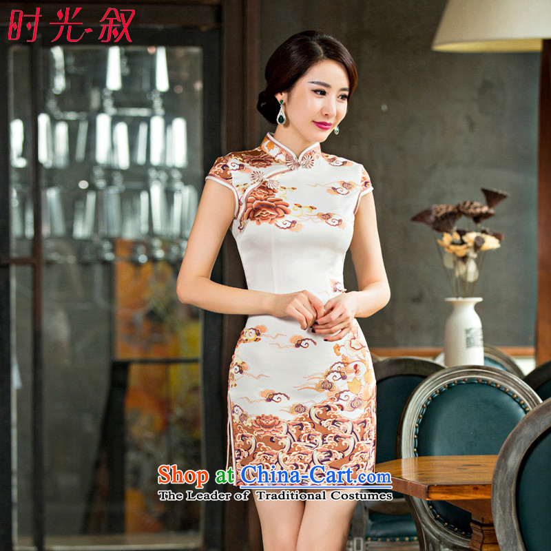 Time the?new ink painting 2015 Syria cheongsam dress Stylish retro China wind-day short-sleeved video thin genuine Ms. qipao?L