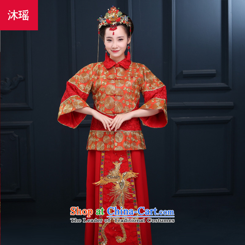 Bathing in the?new 2015 2892 5481 Direct badges of marriage solemnisation services wo Chinese brides Soo-dress and Phoenix use red bows to Tang dynasty wedding gown marriage autumn and winter larger embroidery on his breast RED?M?chest ACTION PUMP INCORPO