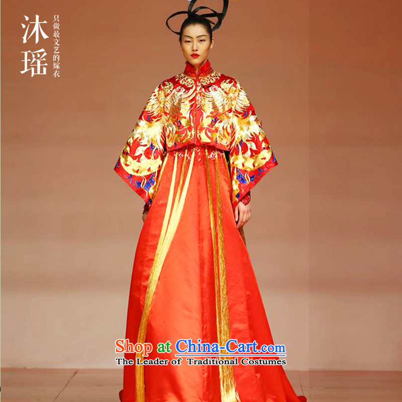 Yoyo Chen Su-wo service bathing in the bridal dresses Wedding Gown In her dress and Phoenix use Chinese wedding ceremony clothing wedding dresses marriage Custom High End China wind red燬-chest 90 waist 72