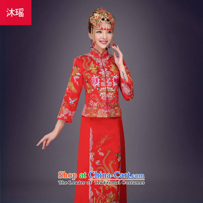 Bathing in the marriage solemnisation Sau Wo Yiu-Chinese dragon use red dress bride bows Tang Dynasty to the wedding dress marriage qipao Sau San autumn and winter larger embroidery on his breast Primary Five well red L - chest 92cm